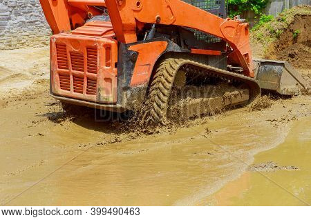 Excavator Digging Soil During Pushes During Pushes Soil A Ground Excavation Earthmoving