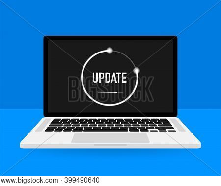 Data Update Or Synchronize With Bar Process. Update On Laptop And Smartphone.