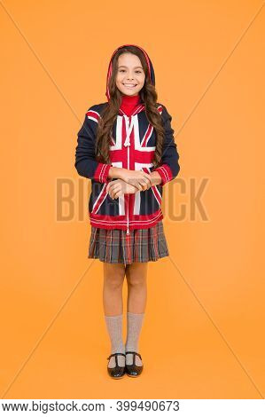 Learn English Language. Language School. English Kid Yellow Background. British Accent. Great Britai