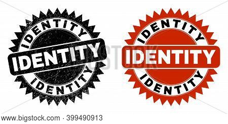 Black Rosette Identity Seal Stamp. Flat Vector Textured Stamp With Identity Text Inside Sharp Rosett