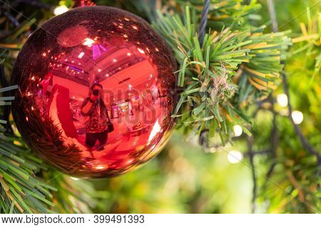 Close-up Of A Christmas Tree Decorated.