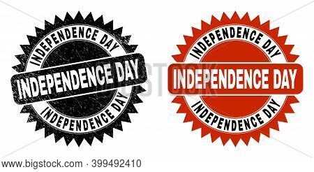 Black Rosette Independence Day Stamp. Flat Vector Textured Seal Stamp With Independence Day Title In