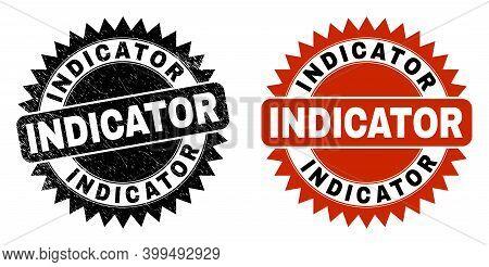 Black Rosette Indicator Seal. Flat Vector Textured Seal With Indicator Message Inside Sharp Rosette,