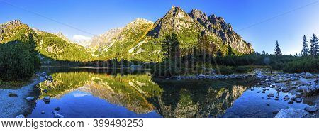 Picturesque Panorama Of Mountain Glacier Lake Poprad (slovak: Popradske Pleso) In High Tatras (slova