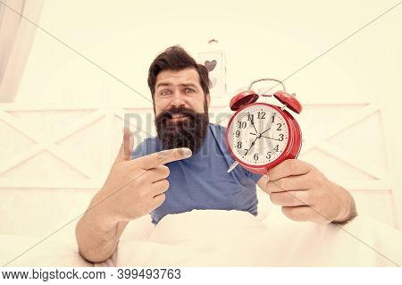 Check Up Time. Sick And Tired Of Insomnia. Wakes Up In Morning. Time And Aging Concept. Unhappy Man