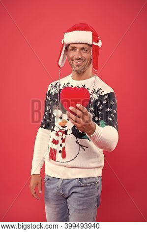 Share Love. Join Feast. Christmas Concept. Happy Guy In Sweater Celebrate Winter. Winter Sale. Divin