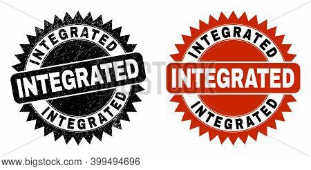 Black Rosette Integrated Seal. Flat Vector Distress Watermark With Integrated Title Inside Sharp Ros