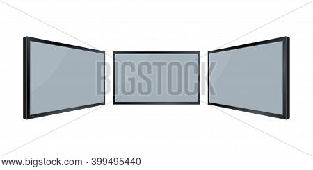 Flat Monitor Wall. Perspective Vector. Vector Icon. Media Technology. Blank Screen Isolated. Black F