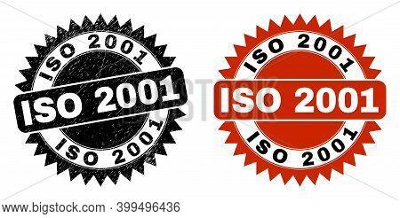 Black Rosette Iso 2001 Watermark. Flat Vector Distress Stamp With Iso 2001 Phrase Inside Sharp Roset
