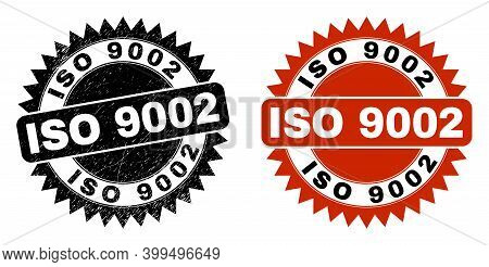 Black Rosette Iso 9002 Watermark. Flat Vector Scratched Stamp With Iso 9002 Text Inside Sharp Rosett