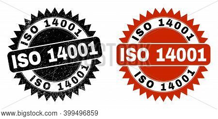Black Rosette Iso 14001 Seal Stamp. Flat Vector Grunge Seal Stamp With Iso 14001 Title Inside Sharp