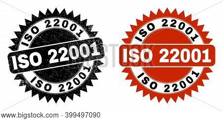 Black Rosette Iso 22001 Seal Stamp. Flat Vector Textured Seal With Iso 22001 Title Inside Sharp Rose