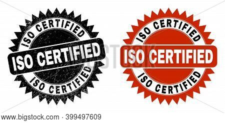 Black Rosette Iso Certified Seal Stamp. Flat Vector Distress Seal With Iso Certified Title Inside Sh