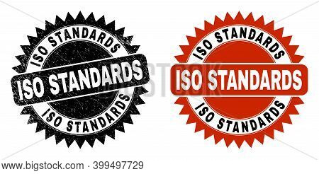 Black Rosette Iso Standards Stamp. Flat Vector Scratched Seal With Iso Standards Caption Inside Shar