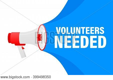 Volunteers Needed Megaphone Yellow Banner In 3d Style On White Background. Vector Illustration.