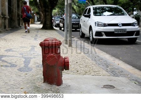 Salvador, Bahia, Brazil - December 14, 2020: Fire Brigade Hudrante Is Seen On The Street In The City