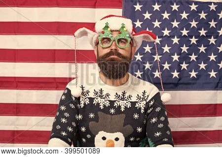 My Country And Tradition. Liberty And Justice For All. American Tradition. Santa Claus On American F
