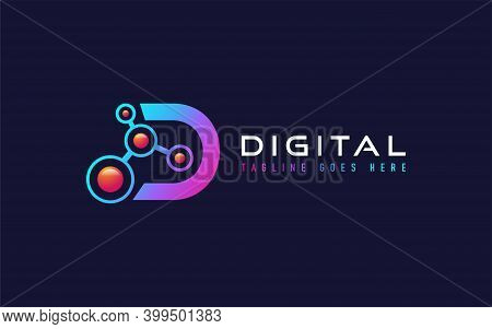 Abstract Initial Letter D With Digital Tech Concept Logo Design. Usable For Business, Community, Ind
