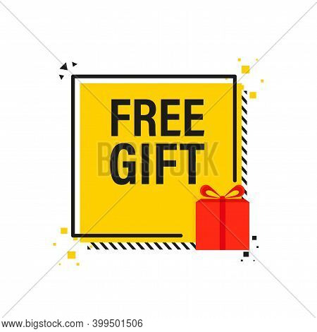 Free Gift Yellow Banner And Tag. Gift Box Banner.