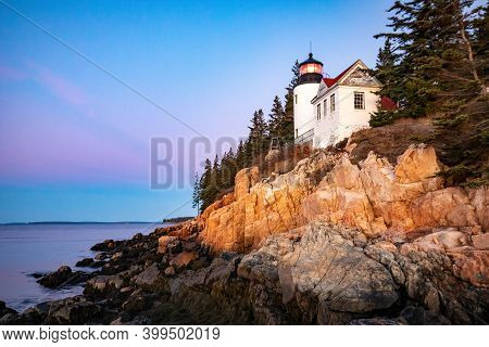 Scenic View Of Bass Harbor Lighthouse In Maine, Acadia