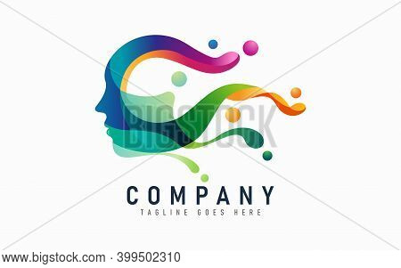 Abstract People Head With Colorful Liquid Concept Logo Design. Creative Logo Design. Graphic Design
