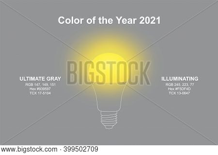 Lightbulb In Modern Trendy Illuminating Yellow And Ultimate Gray Colors Of Pantone Color Of The Year