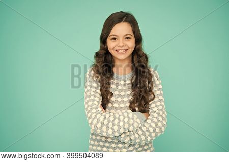 Salon That Gives You Confidence. Happy Girl Wear Wavy Hairstyle. Little Child With Long Brunette Hai