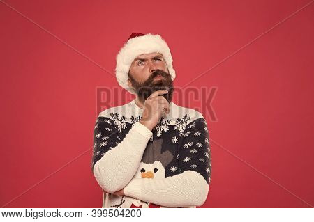 What If. Hipster Bearded Man Wear Winter Sweater And Hat. Happy New Year. Winter Plan. Man Thoughtfu