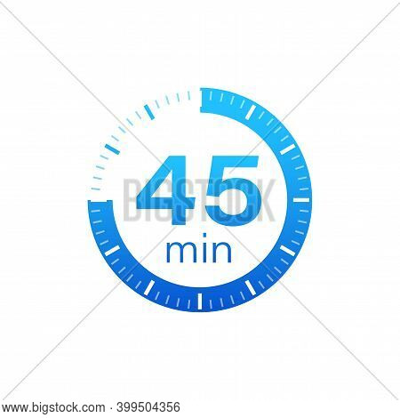 The 45 Minutes, Stopwatch Vector Icon. Stopwatch Icon In Flat Style On A White Background. Vector St