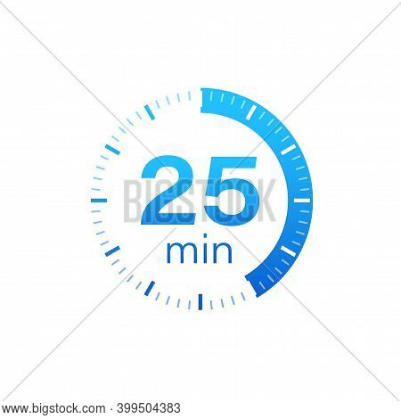 The 25 Minutes, Stopwatch Vector Icon. Stopwatch Icon In Flat Style On A White Background. Vector St