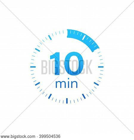 The 10 Minutes, Stopwatch Vector Icon. Stopwatch Icon In Flat Style On A White Background. Vector St