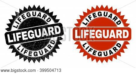 Black Rosette Lifeguard Watermark. Flat Vector Grunge Watermark With Lifeguard Phrase Inside Sharp S