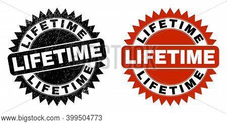 Black Rosette Lifetime Watermark. Flat Vector Textured Watermark With Lifetime Message Inside Sharp