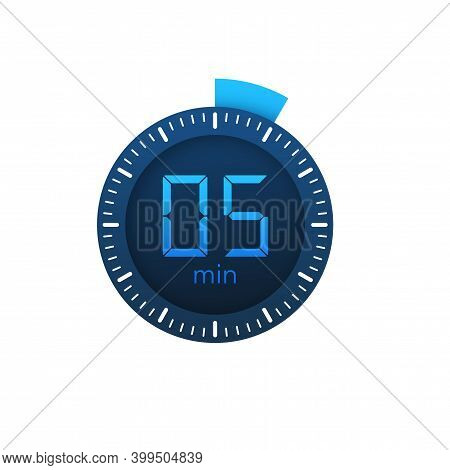 The 5 Minutes, Stopwatch Vector Icon. Stopwatch Icon In Flat Style On A White Background. Vector Sto