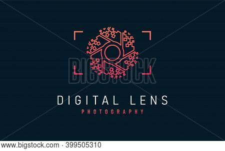 Digital Lens Photography Logo Design. Abstract Lens With Digital Pixel Concept Symbol Design. Usable