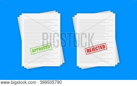 Vector Rubber Stamps Approved And Rejected. Document With Red And Green Stamps.