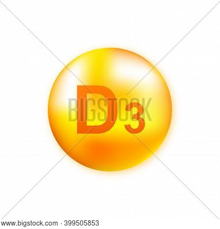 Vitamin D3 With Realistic Drop On Gray Background. Particles Of Vitamins In The Middle. Vector Illus