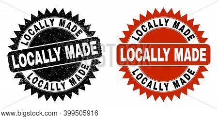 Black Rosette Locally Made Seal Stamp. Flat Vector Distress Seal Stamp With Locally Made Message Ins