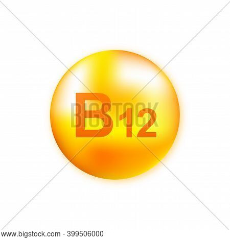 Vitamin B12 With Realistic Drop On Gray Background. Particles Of Vitamins In The Middle. Vector Illu