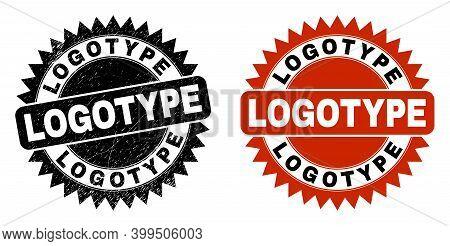 Black Rosette Logotype Watermark. Flat Vector Grunge Stamp With Logotype Phrase Inside Sharp Rosette