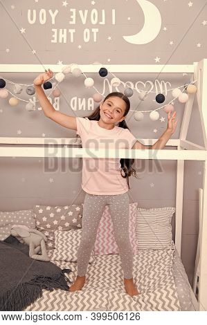 Comfy And Cozy. Happy Child Feel Cozy In Pajamas. Small Girl Relax In Cozy Wear. Home Clothing For C