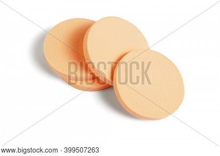 Round Shape Cosmetic Sponges on White Background