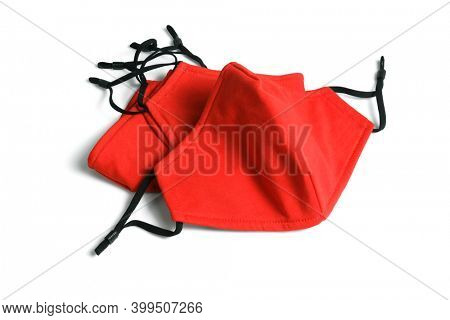 Red Fabric Face Masks on White Background