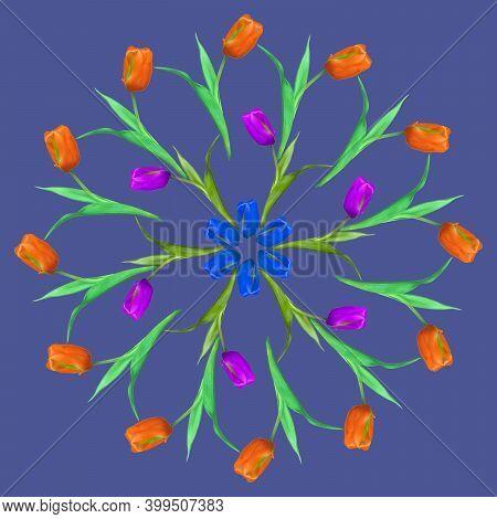 Mandala From Dried Pressed Flowers, Petals. Tulip. Mandala Is Symbol Of Buddhism, Hinduism, Yoga. Or