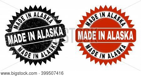 Black Rosette Made In Alaska Seal Stamp. Flat Vector Scratched Seal Stamp With Made In Alaska Captio