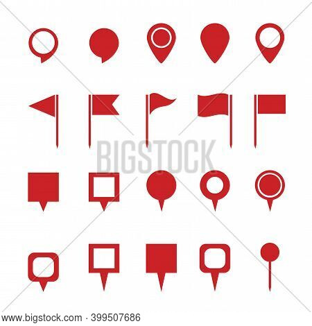 Red Pins Map On White Background. Location Map Icon, Gps Pointer Mark. Pointer Icon. Stock Image.