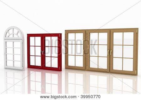 3d illustration of closed plastic windows on white background