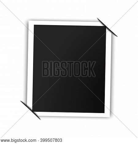 Realistic Black Photo For Frame Print Design. Blank Template. Photo Frame Tucked Corners. Stock Imag