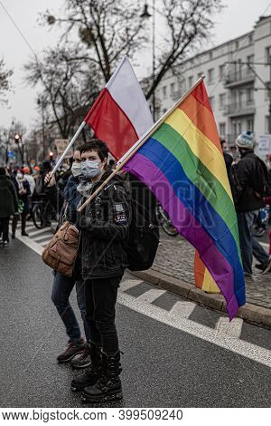 13 december 2020 - Warsaw, Poland - anti-government protests in the streets of the capital of Poland