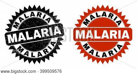 Black Rosette Malaria Seal Stamp. Flat Vector Grunge Seal Stamp With Malaria Text Inside Sharp Roset